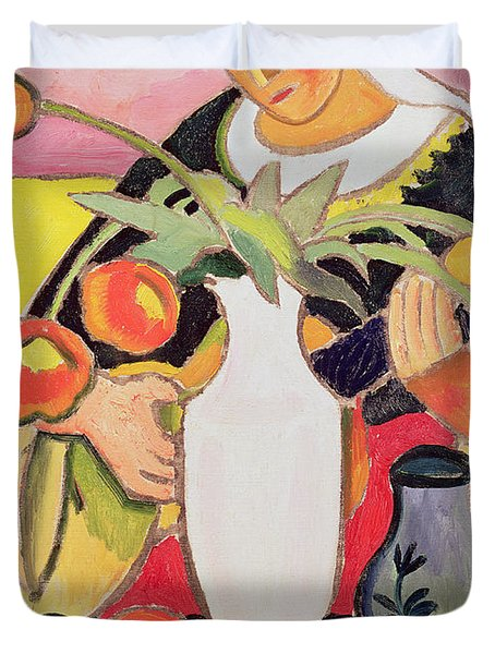 The Lute Player Duvet Cover by August Macke