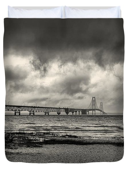 The Mackinac Bridge B W Duvet Cover