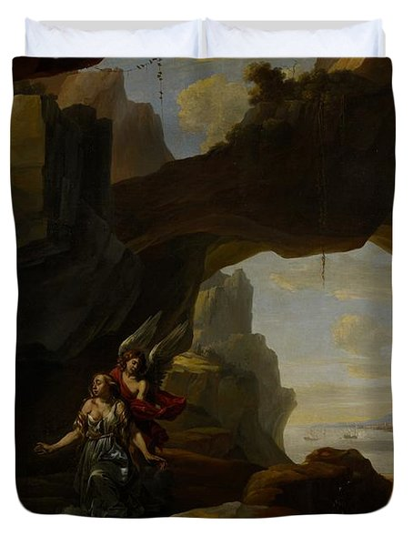 The Magdalen In A Cave Duvet Cover by Johannes Lingelbach