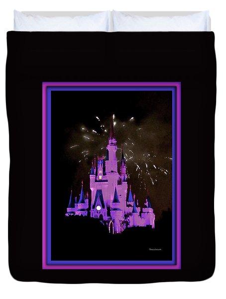 The Magic Kingdom Castle In Violet Walt Disney World Fl Duvet Cover by Thomas Woolworth