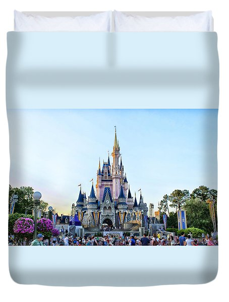 The Magic Kingdom Castle On A Beautiful Summer Day Horizontal Duvet Cover by Thomas Woolworth