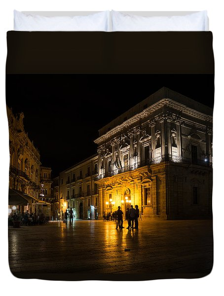Duvet Cover featuring the photograph The Magical Duomo Square In Ortygia Syracuse Sicily by Georgia Mizuleva