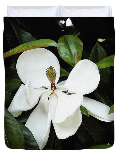 Duvet Cover featuring the photograph The Magnolia Bloom  by James C Thomas