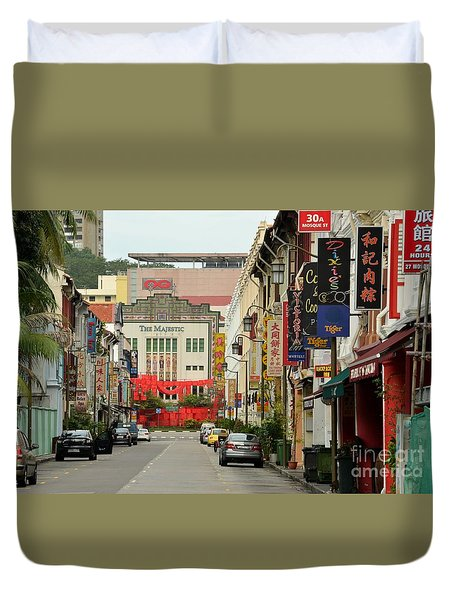 Duvet Cover featuring the photograph The Majestic Theater Chinatown Singapore by Imran Ahmed