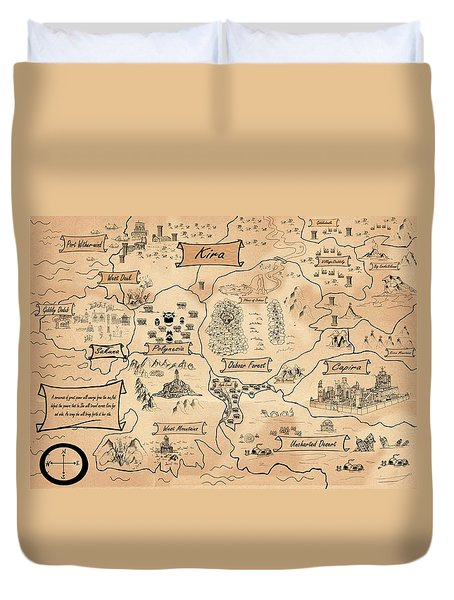 Duvet Cover featuring the painting The Map Of Kira by Reynold Jay