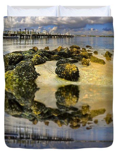 The Marina At Boynton Inlet Duvet Cover by Debra and Dave Vanderlaan