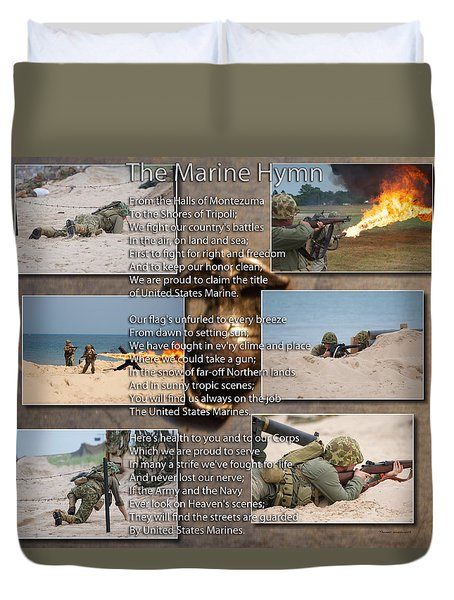 The Marine Corp Hymn Duvet Cover by Thomas Woolworth