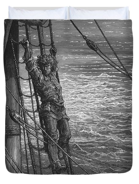 The Mariner Describes To His Listener The Wedding Guest His Feelings Of Loneliness And Desolation  Duvet Cover by Gustave Dore