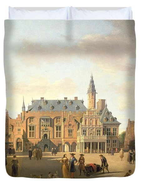 The Market Place With The Raadhuis, Haarlem, 17th Century Duvet Cover