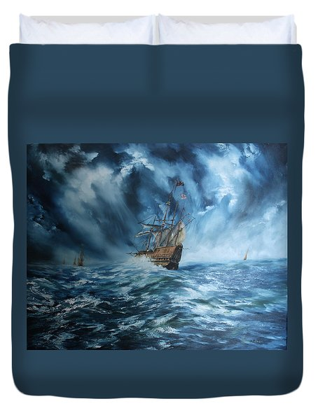 The Mary Rose And Fleet Duvet Cover