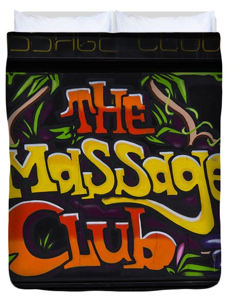 The Massage Club Duvet Cover by Brian Roscorla