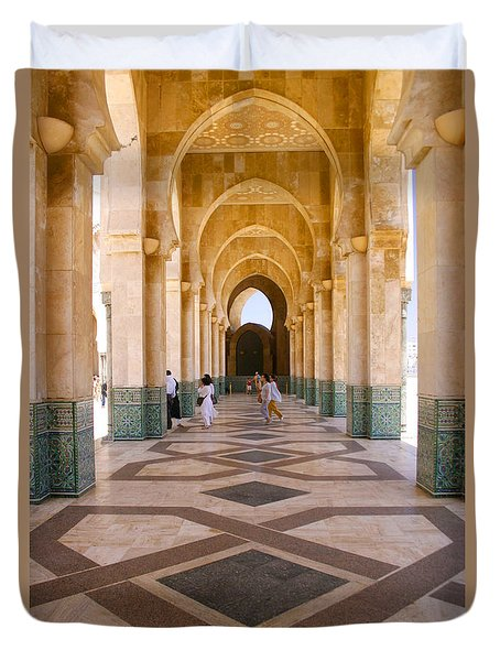 Duvet Cover featuring the photograph The Massive Colonnades At The Hassan II Mosque Sour Jdid Casablanca Morocco by Ralph A  Ledergerber-Photography