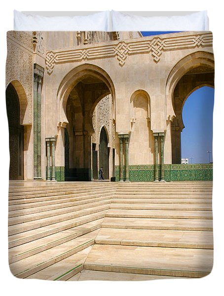 Duvet Cover featuring the photograph The Massive Colonnades Leading To The Hassan II Mosque Sour Jdid Casablanca Morocco by Ralph A  Ledergerber-Photography
