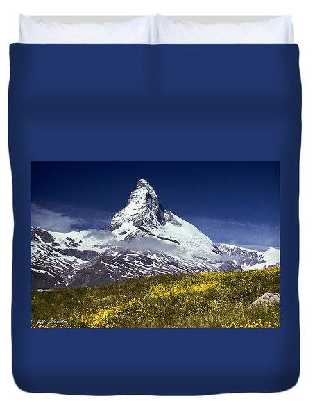 The Matterhorn With Alpine Meadow In Foreground Duvet Cover by Jeff Goulden