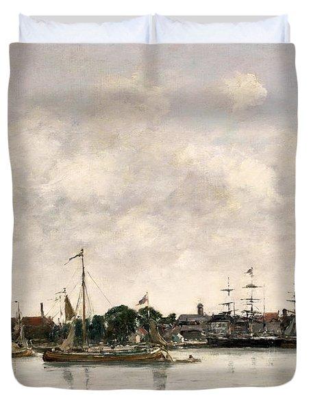 The Meuse At Dordrecht Duvet Cover by Eugene Louis Boudin