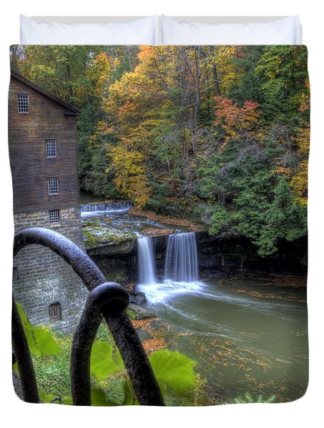 The Mill And Falls At Mill Creek Park Duvet Cover