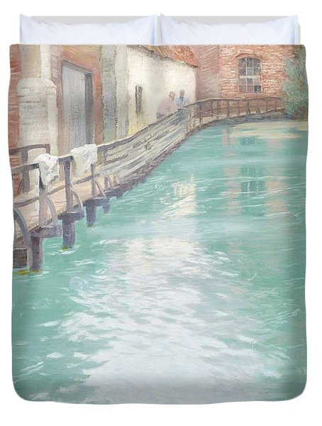 The Mills At Montreuil Sur Mer Normandy Duvet Cover by Fritz Thaulow