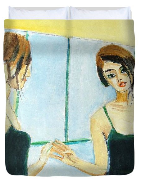The Mirror Has Two Faces Duvet Cover by Judy Kay