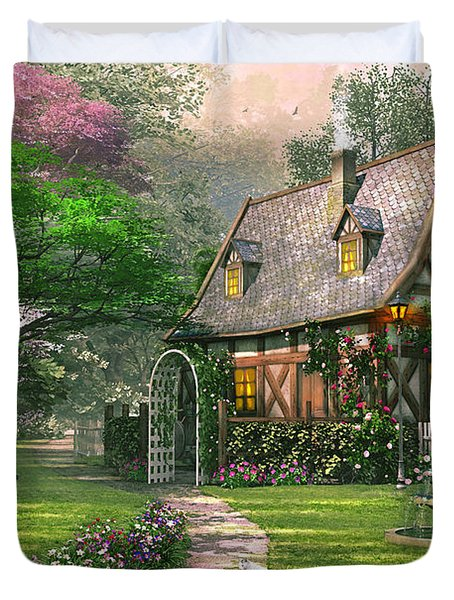The Misty Lane Cottage Duvet Cover by Dominic Davison