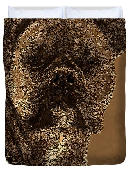 The Modern Boxer Bulldog Duvet Cover by Lesa Fine