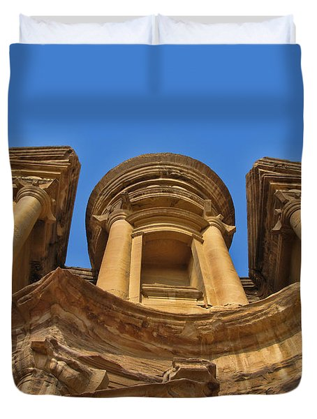Duvet Cover featuring the photograph The Monastery In Petra by David Gleeson