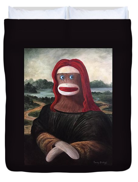 Duvet Cover featuring the painting The Monkey Lisa by Randol Burns