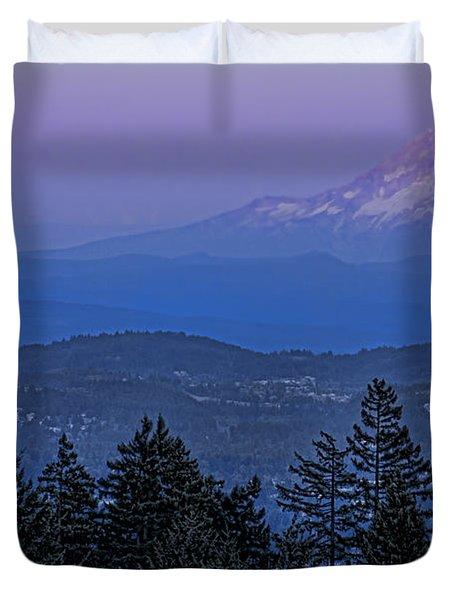 The Moon Beside Mt. Hood Duvet Cover