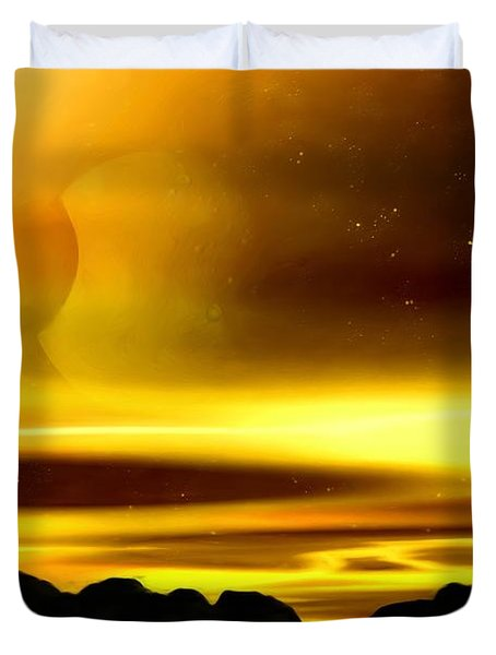 Duvet Cover featuring the painting The Moons Of Midas by Pet Serrano