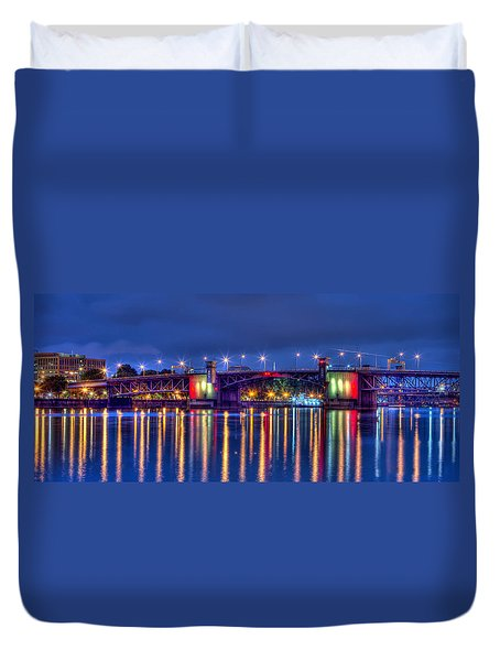 Morrison Bridge Reflections Duvet Cover by Thom Zehrfeld