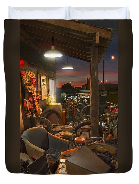 The Motorcycle Shop 2 Duvet Cover by Mike McGlothlen