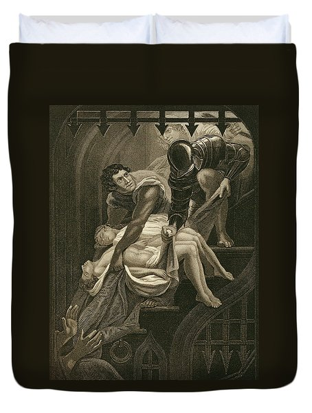 The Murder Of The Two Princes Duvet Cover by James Northcote