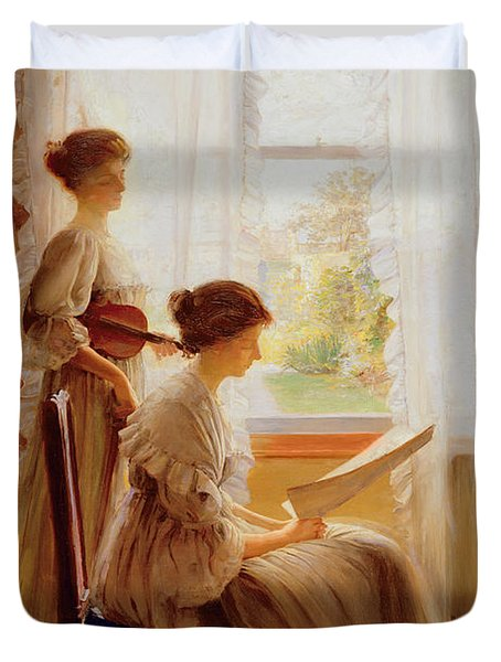 The Music Lesson, C.1890 Duvet Cover by American School