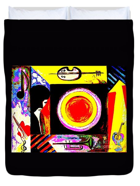 Duvet Cover featuring the painting The Music Maker by Hazel Holland
