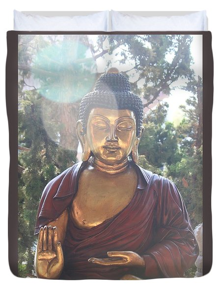 The Mystical Golden Buddha Duvet Cover by Amy Gallagher