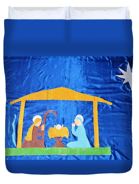 Duvet Cover featuring the painting The Nativity  by Magdalena Frohnsdorff