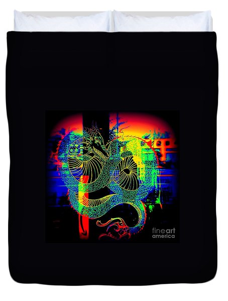 The Neon Dragon Duvet Cover by Kelly Awad