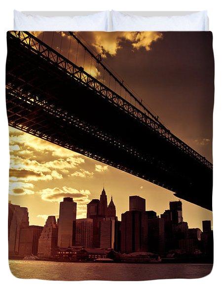 The New York City Skyline - Sunset Duvet Cover