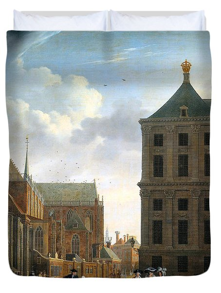 The Nieuwe Kerk And The Rear Of The Town Hall In Amsterdam  Duvet Cover by Isaak Ouwater