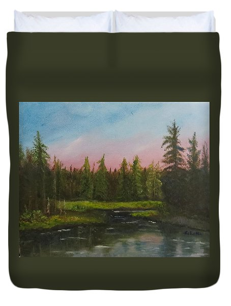 Duvet Cover featuring the painting The Northeast by Sharon Schultz