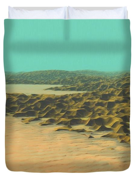 Duvet Cover featuring the painting The Ocean Is A Desert by Pet Serrano