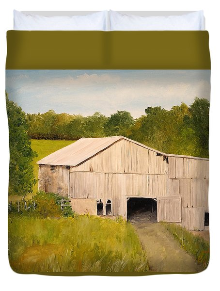 Duvet Cover featuring the painting The Old Barn by Alan Lakin