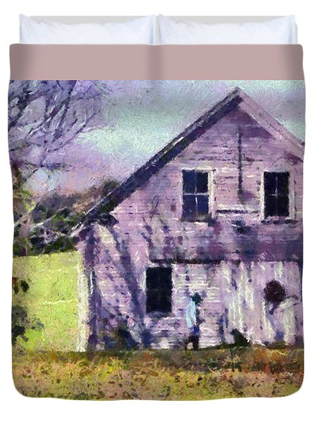 Duvet Cover featuring the painting The Old Barn by Elizabeth Coats