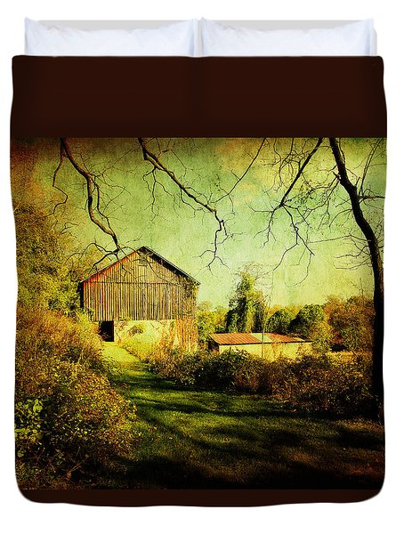 Duvet Cover featuring the photograph The Old Barn With Texture by Trina  Ansel