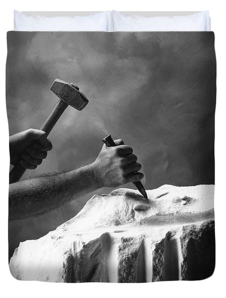 Duvet Cover featuring the photograph Chipping The Old Block by Mark Greenberg