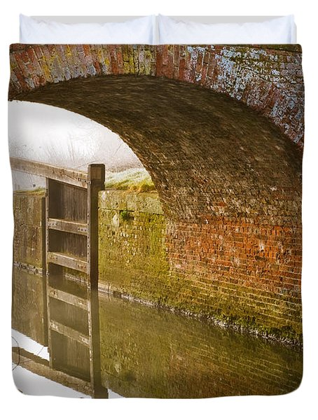 Duvet Cover featuring the photograph The Old Bridge And Lock Gates by Trevor Chriss