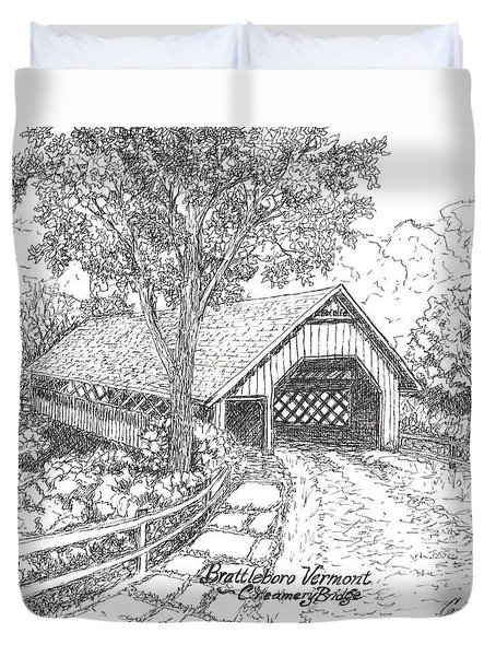 Duvet Cover featuring the drawing The Old Creamery Bridge Brattleboro Vt Pen Ink by Carol Wisniewski