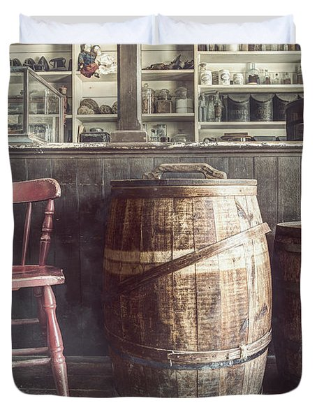 The Old General Store - Red Chair And Barrels In This 19th Century Store Duvet Cover