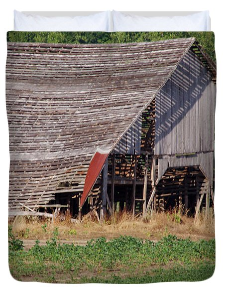 Duvet Cover featuring the photograph The Old Gray Barn by Nick Kirby