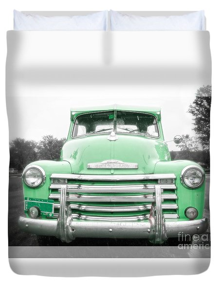 The Old Green Chevy Pickup Truck Duvet Cover