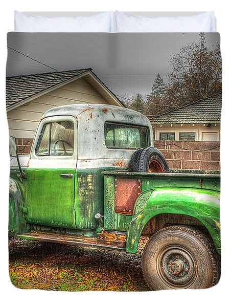 Duvet Cover featuring the photograph The Old Green Truck by Jim Thompson